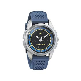 Fastrack 3233SP01 Black and Blue Dial with Pu Strap Men's Watch