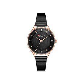 CURREN C9041 Matt Black Rose Gold Rim Women's Watch