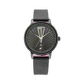Fastrack 6206NL02 ANANYA PANDAY - Ruffles Baby Pink Dial Leather Strap Women's Watch