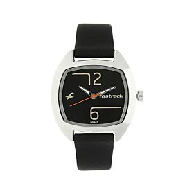 FASTRACK NM6162SL01 Bare Basics Black Dial Leather Strap Women's Watch
