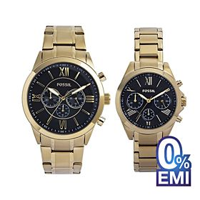 Fossil BQ2400SET His and Her Chronograph Gold-Tone Stainless Steel Watch Gift Set
