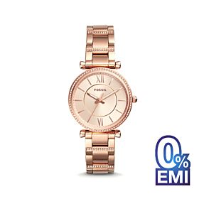 Fossil Carlie Three-Hand Rose Gold-Tone Stainless Steel Women's Watch (ES4301)