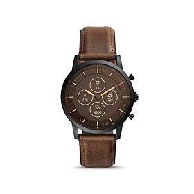 Fossil FTW7008 Hybrid HR Collider Dark Brown Leather Smartwatch