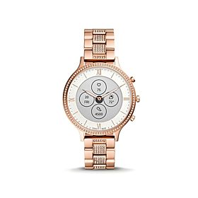 Fossil FTW7012 Hybrid HR Charter Rose Gold-Tone Stainless Steel Mesh Women's Smartwatch