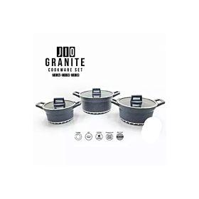 Jio Exclusive Granite 3 pcs Marble Non-Stick Coating Set (Blue)