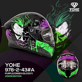 Yohe 978-2 Joker Edition Fluo Yellow/Red Full Face Helmet (Clear Visor)