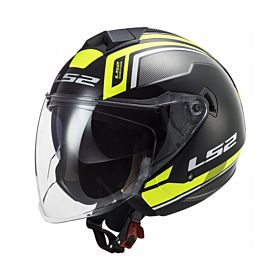 LS2 OF573 Twister II Flix Black H-V Yellow Helmet