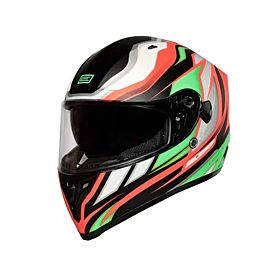 Origine Strada Revolution FLUO Green-Red-Black Helmets - (Clear Visor)