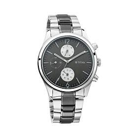 TITAN 1805KM02 Workwear with Anthracite Dial & Metal Strap Men's Watch