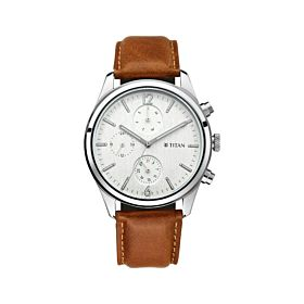 Titan 1805SL04 Workwear with White Dial & Leather Strap Men's Watch