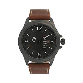 TITAN NM1701QL01 Anthracite Dial Brown Leather Strap Men's Watch