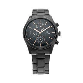 Titan Workwear Watch with Black Dial & Black Metal Strap Men's Watch (NM1805NM01)